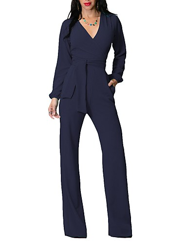 43cbfb03991 Women's Daily Sexy Solid Deep V Jumpsuits,Bootcut Long Sleeves Spring Summer  Cotton Bamboo Fiber 6479100 2019 – $24.14