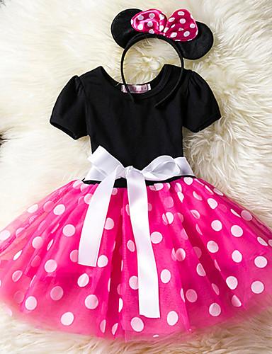 preiswerte Vorherbstliche Kinderkleidung-Baby Mädchen Freizeit Alltag Festtage Punkt Mehrlagig Kurzarm Kleid Rote / Baumwolle