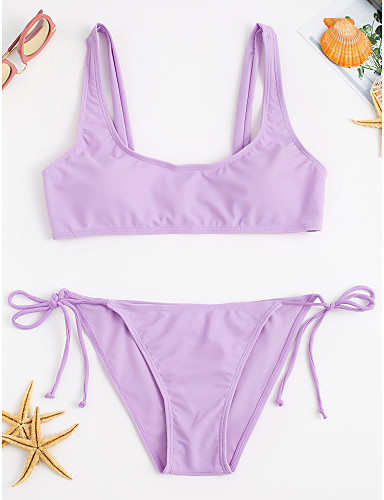 07885298f73 Women's Solid / Lace Up Halter Neck Bikini - Solid Colored / Sporty Look  6432437 2019 – $12.99