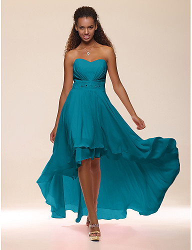 cheap Cocktail Dresses-A-Line Empire Graduation Cocktail Party Dress Sweetheart Neckline Sleeveless Asymmetrical Chiffon with Crystals Tier 2020