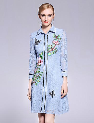 6c752f0a438 [$79.99] Γυναικεία Δαντέλα Φόρεμα - Φλοράλ, Δαντέλα Λουλούδι Γιακάς Peter  Pan