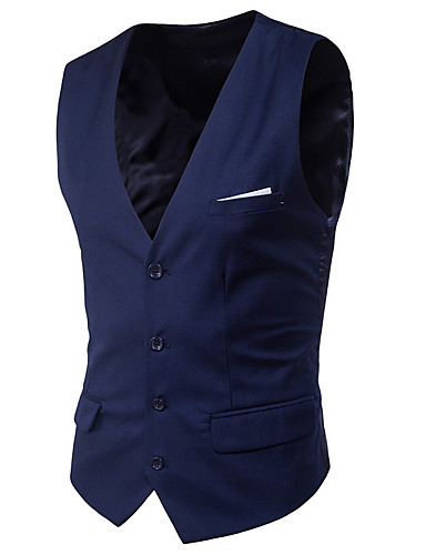 cheap Waistcoats-Men's V Neck Vest Short Solid Colored Daily Spring Sleeveless Black / Purple / Red S / M / L