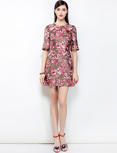 75c87246b Mulheres Para Noite Boho / Moda de Rua Evasê Vestido - Estampado, Floral  Acima do Joelho de 6538828 2019 por $78.20
