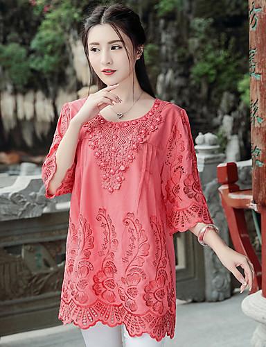 billige Bluser-Bomull Løstsittende Store størrelser Skjorte Dame - Ensfarget, Broderi Gatemote Grønn