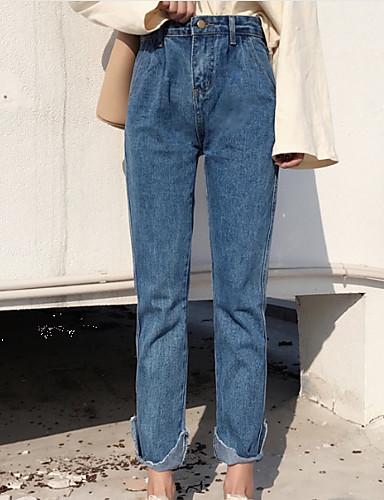 6d7642b805 Mujer Normal Simple Cintura Alta Microelástico Pantalones Harén Corte Recto  Pantalones