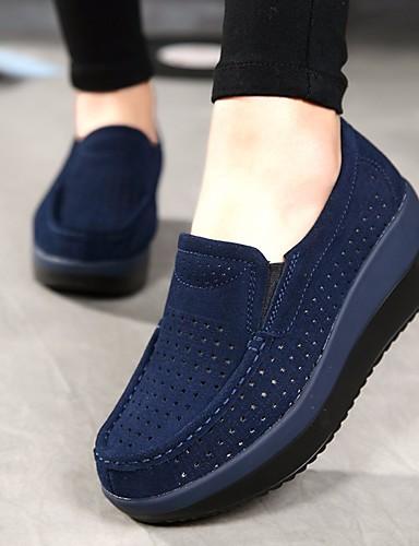 billige Shoes & Bags Must-have-Dame En pedal Kile Hæl Rund Tå Lær Komfort Sommer / Høst Mørkeblå / Grå / Rød / EU40