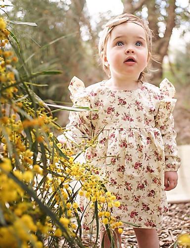 preiswerte Ausverkauf-Baby Mädchen Einfach / Retro Alltag Solide / Blumen Kurzarm Standard Standard Baumwolle / Leinen / Bambusfaser Kleid Rosa