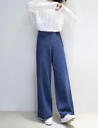 83c812702af4 Dame Afslappet Bomuld Jeans Bukser - Ensfarvet Blå 6524836 2019 –  19.99
