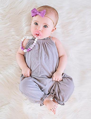 preiswerte Die besten Strampelanzüge-Baby Mädchen Einfach / Retro Alltag Solide Kurze Ärmel / Ärmellos Baumwolle / Leinen / Bambusfaser Anzug & Overall Rosa