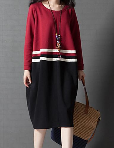[$16.82] Women\u0027s Casual / Daily Chic \u0026 Modern Sweater Dress , Solid Colored  Modern Style Winter Cotton Green Red L XL XXL