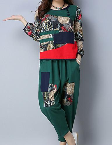 preiswerte Damen zweiteilige Anzüge-Damen Ausgehen Set - Patchwork Hose