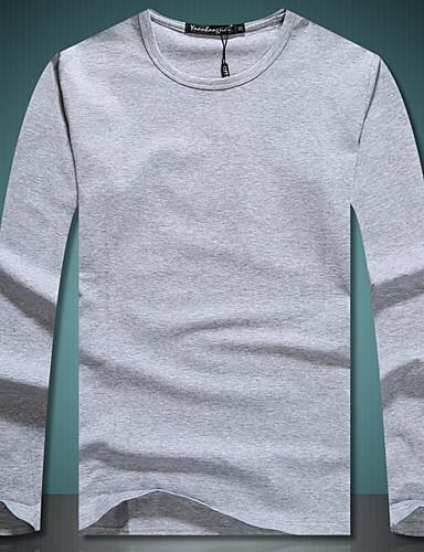 aa5cbb28e8b3 Ανδρικά T-shirt Βαμβάκι Μονόχρωμο Στρογγυλή Λαιμόκοψη   Μακρυμάνικο 6524479  2019 –  15.11