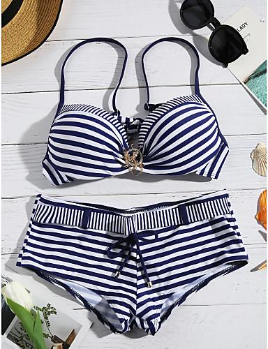 billige Bikinier og damemote-Dame Geometrisk Grime Grønn Rød Navyblå Bikini Badetøy - Stripet L XL XXL Grønn / Sexy
