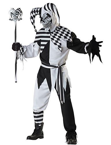povoljno Maske i kostimi-Burlesque / Klaun Cosplay Nošnje Odrasli Muškarci Halloween Festival / Praznik Polyster Crn Karneval kostime Plaid / Check