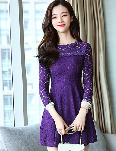 Women s Lace Casual   Daily A Line   Lace Dress - Solid Colored Artistic  Style   Classic Style Spring Cotton White Black Purple L XL XXL 6464792  2019 – ... 930fdc297e