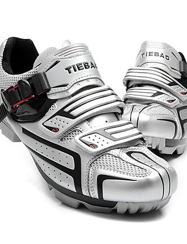 billige Sykling-Tiebao® Mountain Bike-sko Nylon Vanntett Pustende Anti-Skli Sykling Svart Sølv Grønn Herre Sykkelsko / Demping / Ventilasjon / Syntetisk Mikrofiber PU / Demping / Ventilasjon