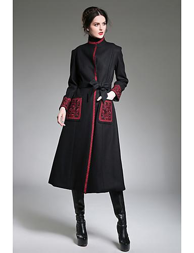 Escote Vintage Bordado Color Abrigo Sólido Mujer Chino Estampado qF8wqE