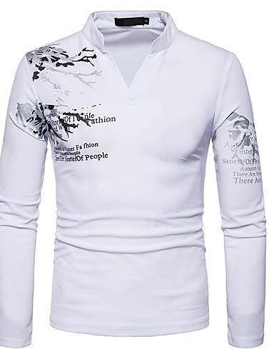 Ανδρικά T-shirt Κινεζικό στυλ - Βαμβάκι Γραφική Στρογγυλή Λαιμόκοψη Λεπτό Στάμπα Μαύρο / Μακρυμάνικο / Άνοιξη / Φθινόπωρο