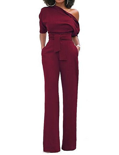 cheap Women's Jumpsuits & Rompers-Women's Wide Leg Kentucky Derby One Shoulder Wine Purple Yellow Wide Leg Slim Jumpsuit Onesie, Solid Colored S M L Short Sleeve Spring Summer