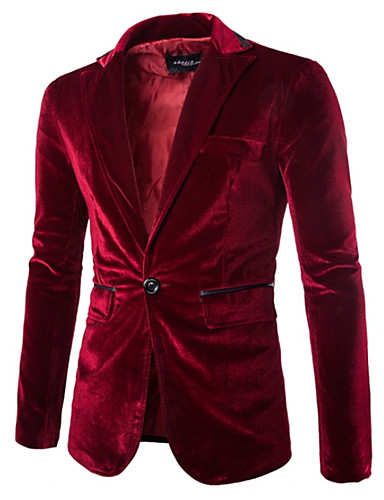 cheap Party Night-Men's Party / Daily Spring Regular Blazer, Solid Colored Notch Lapel Long Sleeve Polyester / Velvet Black / Wine / Purple / Slim