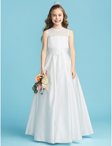 9132d5ff241 A-Line   Princess Jewel Neck Floor Length Lace   Satin Junior Bridesmaid  Dress with Bow(s)   Lace   Pleats by LAN TING BRIDE® 6468551 2019 –  69.99