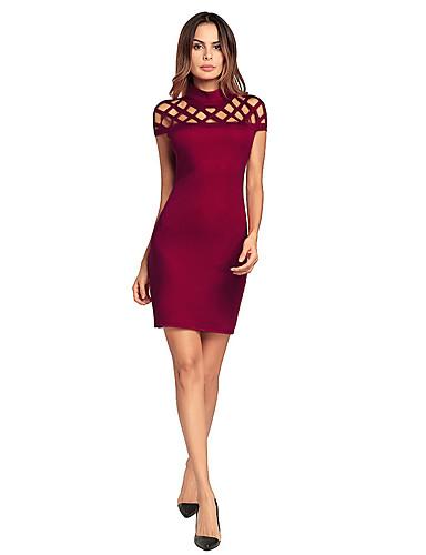 Γυναικεία Πάρτι Βαμβάκι Λεπτό Εφαρμοστό Φόρεμα - Μονόχρωμο, Με κοψίματα Πάνω από το Γόνατο Ψηλή Μέση Όρθιος Γιακάς Κόκκινο