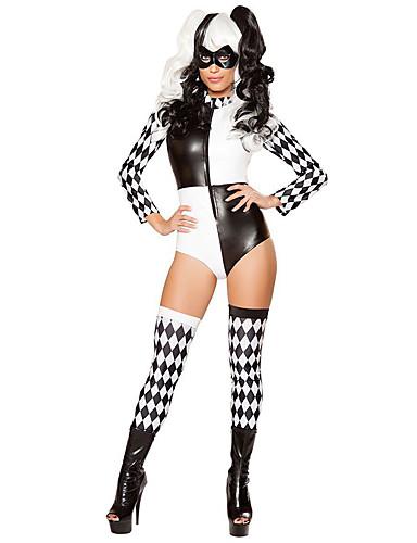 preiswerte Damenbekleidung-Burleske Clown Zirkus Cosplay Kostüme Erwachsene Damen Halloween Fest / Feiertage Leinen / Baumwolle Schwarz Weiblich Karneval Kostüme Plaid / Karomuster