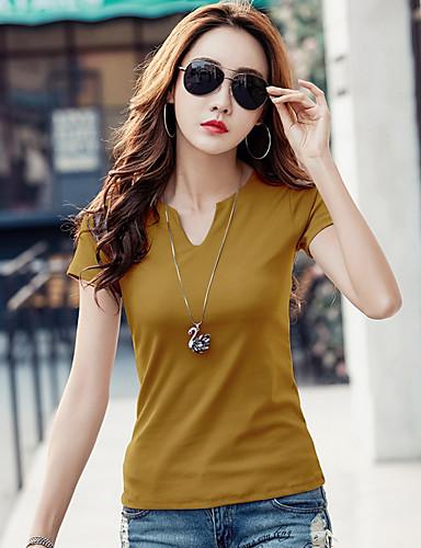 billige T-skjorter til damer-T-skjorte Dame - Ensfarget Lysebrun / Sommer