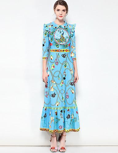 levne Maxi šaty-Dámské Základní / Cikánský Bavlna Swing Šaty - Květinový Maxi Košilový límec