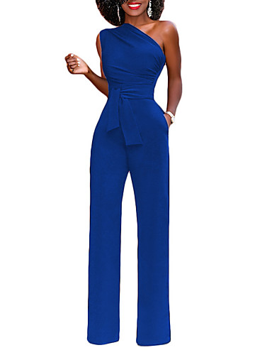 a19d3e94c0 Women s Party   Going out Street chic One Shoulder Blue Black Red Wide Leg  Slim Jumpsuit