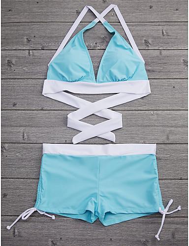 billige Bikinier og damemote-Dame Sporty Grime Rosa Navyblå Lysegrønn Bandeau Boy Leg Bikini Badetøy - Fargeblokk BLå & Hvit Kryss M L XL Rosa