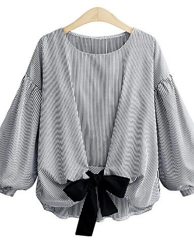 billige Skjorter til damer-Lanterne Erme Store størrelser Skjorte Dame - Stripet, Sløyfe Hvit / Snøring
