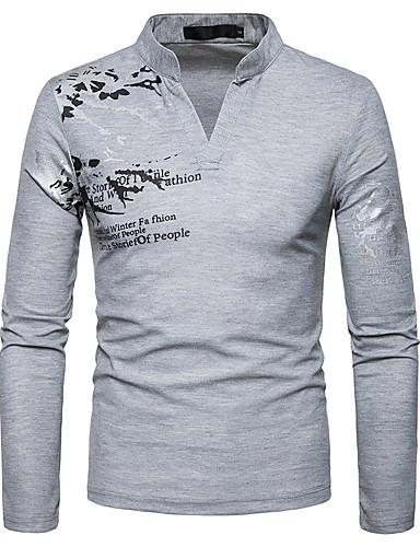 Ανδρικά T-shirt Γραφική / Γράμμα Λαιμόκοψη V Μαύρο / Μακρυμάνικο / Άνοιξη / Φθινόπωρο