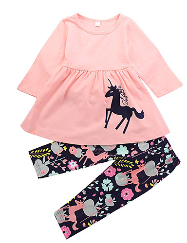 cheap Kids in home-Toddler Girls' Casual Daily Holiday Unicorn Floral Print Animal Ruched Modern Style Cartoon Long Sleeve Long Long Clothing Set Blushing Pink / Cute