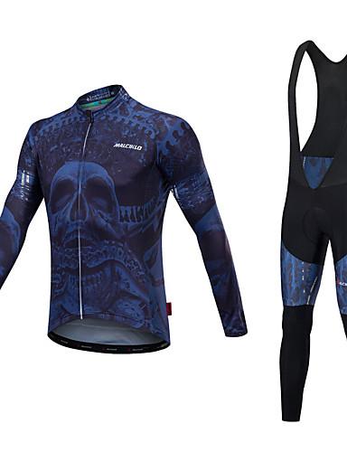 povoljno Odjeća za vožnju biciklom-Malciklo Muškarci Dugih rukava Biciklistička majica s tregericama Plava i bijela Plava i Crna Bicikl Sportska odijela Ugrijati Quick dry Anatomski dizajn Reflektirajuće trake Zima Sportski Likra