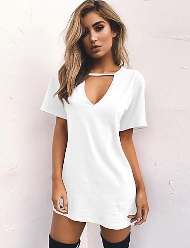billige Dametopper-Bomull V-hals T-skjorte Dame - Ensfarget Ut på byen Vin / Sommer
