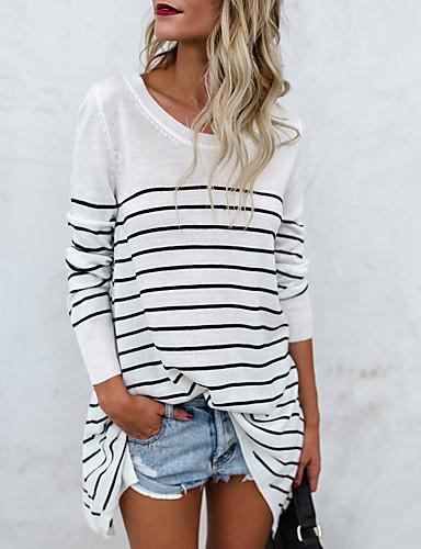 billige Dametopper-Bomull Løstsittende T-skjorte Dame - Stripet Grunnleggende Hvit / Vår / Høst / fin Stripe