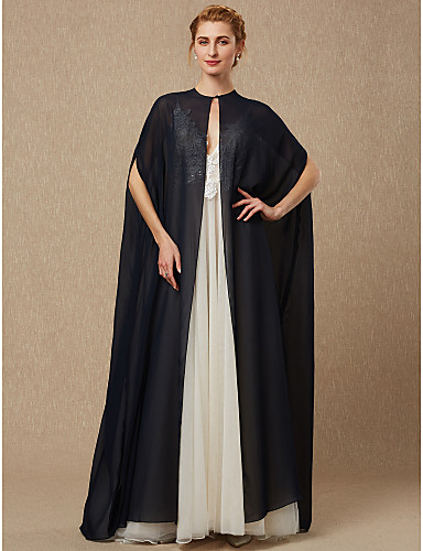 cheap Wedding Wraps-Sleeveless Capes Chiffon Wedding / Party / Evening Women's Wrap With Draping / Button / Solid