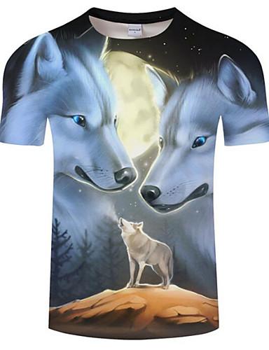 voordelige Heren T-shirts & tanktops-Heren Print Grote maten - T-shirt dier Ronde hals Wolf Zwart / Korte mouw / Zomer