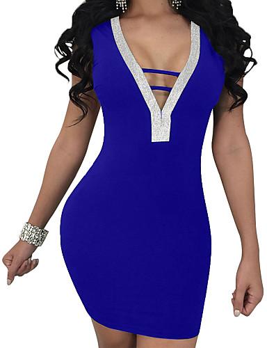 Γυναικεία Πάρτι Εξόδου Κομψό στυλ street Λεπτό Εφαρμοστό Θήκη Φόρεμα - Συμπαγές Χρώμα, Εξώπλατο Μίνι Λαιμόκοψη V / Sexy