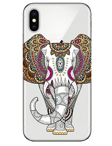 Capinha Para Apple iPhone X / iPhone 8 Plus / iPhone 8 Ultra-Fina / Estampada Capa traseira Animal / Elefante Macia TPU