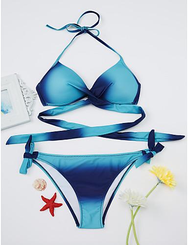 billige Dametopper-Dame Grime Blå Rosa Gul Sjal Cheeky Bikini Badetøy - Regnbue Kryss L XL XXL Blå / Sexy