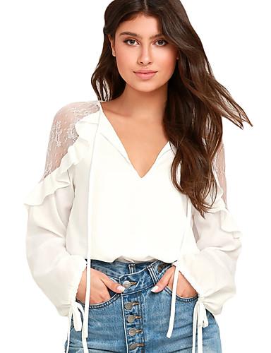 811e651bcc2 Mujer Encaje - Camiseta, Escote en Pico Un Color 6542594 2019 – $14.44