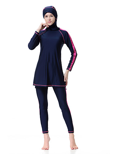 billige Bikinier og damemote-Dame Store størrelser Grunnleggende Svart Navyblå Lilla Burkini Badetøy - Stripet XL XXL XXXL Svart