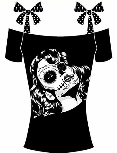 295a6119c606 Γυναικεία T-shirt Αργίες   Εξόδου Μπόχο - Βαμβάκι Πουά   Στάμπα Χαμόγελο  Φιόγκος   Καλοκαίρι   Κορδόνια 6542646 2019 –  7.35