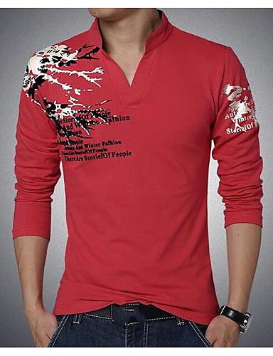 voordelige Heren T-shirts & tanktops-Heren Street chic Klassieke Stijl Grote maten - T-shirt Effen Kleur Opstaand Zwart / Lange mouw