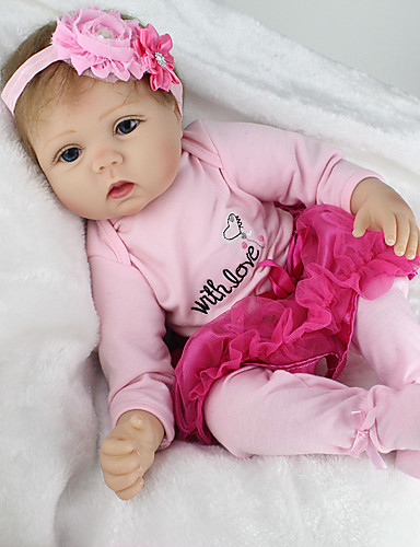 cheap Kids' Dolls, Playsets & Stuffed Animals-NPKCOLLECTION NPK DOLL Reborn Doll Girl Doll Baby Girl Reborn Baby Doll 22 inch Silicone Vinyl - lifelike Cute Hand Made Child Safe Non Toxic Lovely Kid's Girls' Toy Gift / Parent-Child Interaction