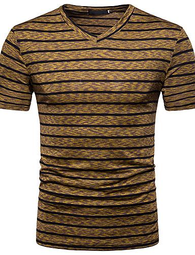 Ανδρικά T-shirt Κομψό στυλ street Λαιμόκοψη V Θαλασσί / Κοντομάνικο / Άνοιξη / Καλοκαίρι