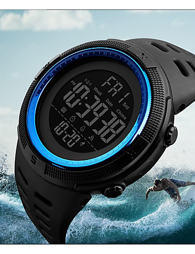 cheap Digital Watches-Men's Sport Watch Military Watch Wrist Watch Japanese Digital 50 m Water Resistant / Water Proof Alarm Calendar / date / day PU Band Digital Fashion Black - Blue Brown / Gold Gold / Red Two Years