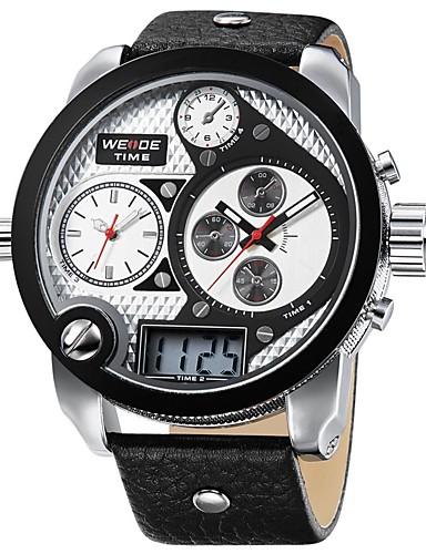 b10b63296fa6 WEIDE Hombre Reloj de Pulsera Japonés Resistente al Agua   Dos Husos  Horarios   Tres Husos Horarios Cuero Auténtico Banda Casual Negro   Esfera  Grande ...